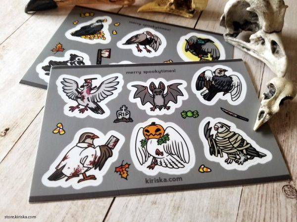 Spooky bird sticker sheet