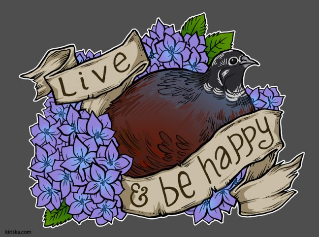 An encouraging king quail and hydrangeas