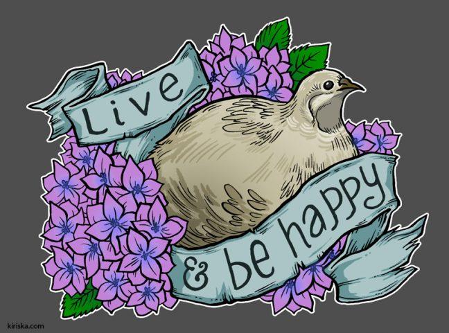 An encouraging button quail and hydrangeas