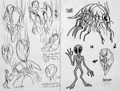 Sketch interpretations of the alien species Skrit-Na from Animorphs