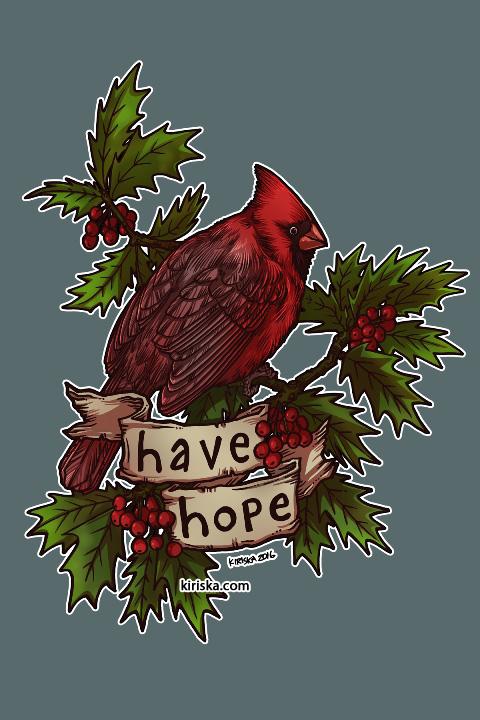 A hopeful cardinal among holly