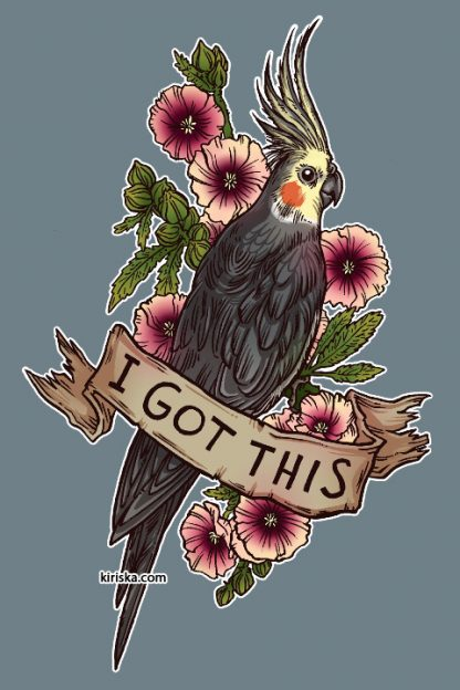 A cockatiel and hollyhock flowers