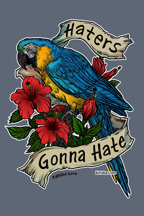 A blue and gold macaw and hibiscus