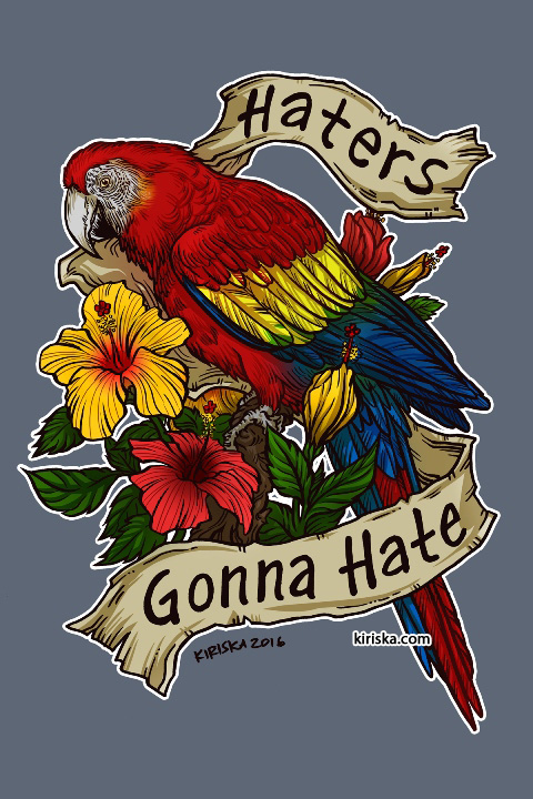 A scarlet macaw and hibiscus