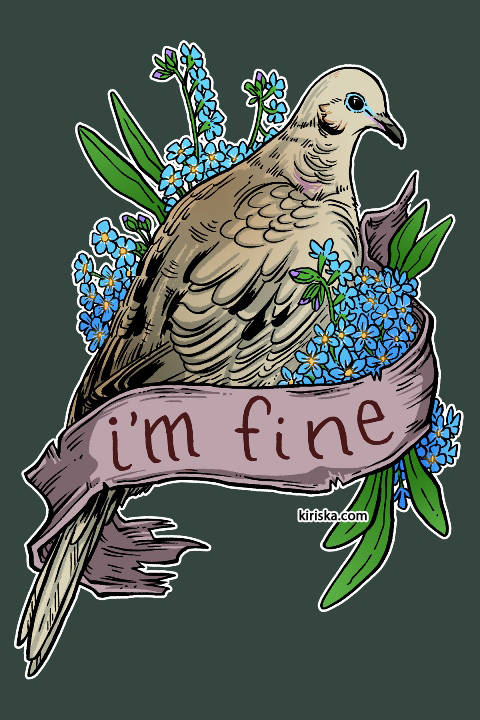 A mourning dove and forget-me-nots