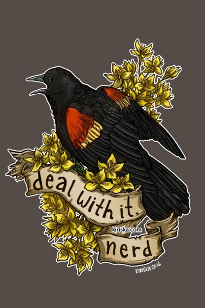 A red-wing blackbird and mustard flowers