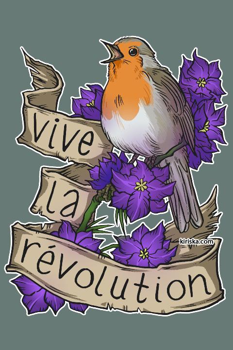 A rebellous European robin and larkspur flowers