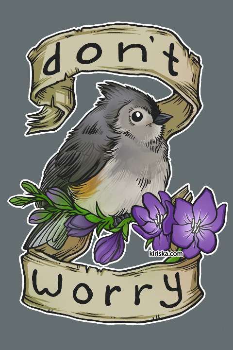 An encouraging tufted titmouse and freesia