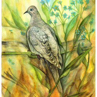 Watercolor painting of a mourning dove (Nageki from Hatoful Boyfriend), a burning book, and forget-me-nots