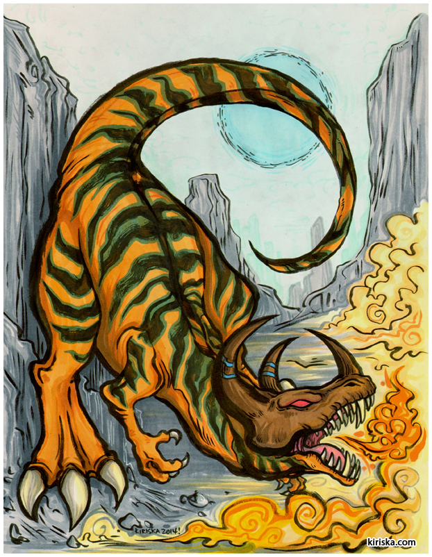 Original art of the Digimon Greymon