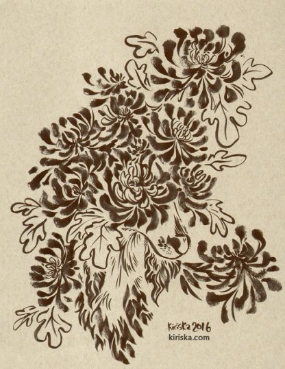 Ink drawing of chrysanthemums covering a saluki dog