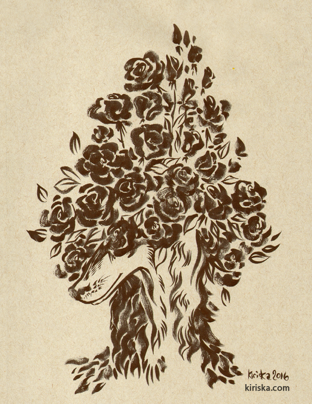 Ink drawing of roses covering a saluki dog