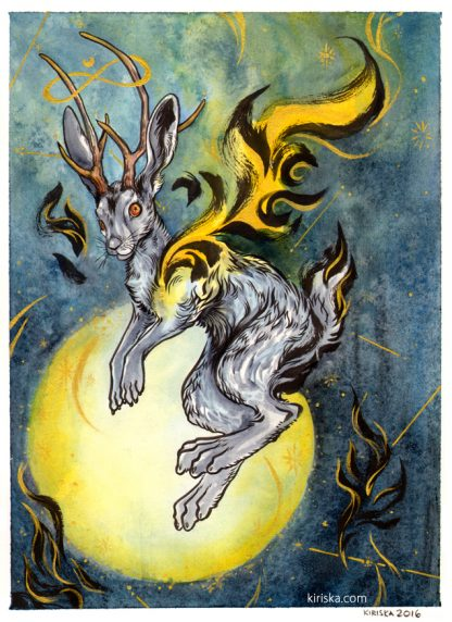 Ink, watercolor, and gold ink painting of a jackalope in space