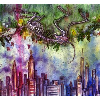 Ink and watercolor painting of a coyote skeleton over New York City