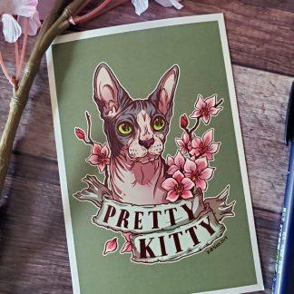 Original mini art print of a sphynx cat
