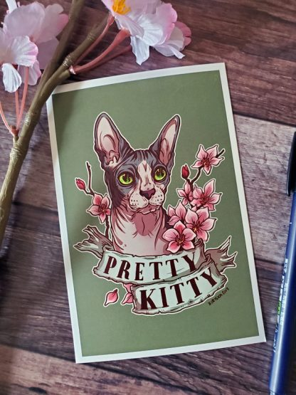 Original mini art print of a sphynx cat