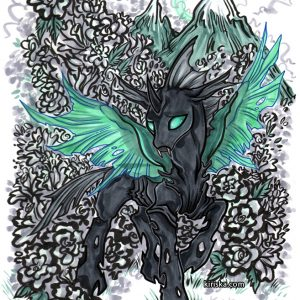 Original art of a changeling from My Little Pony