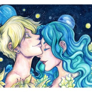 Watercolor painting of Sailor Uranus and Sailor Neptune