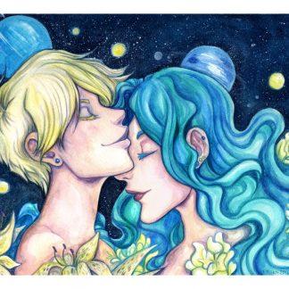 Watercolor painting of Sailor Uranus and Sailor Neptune