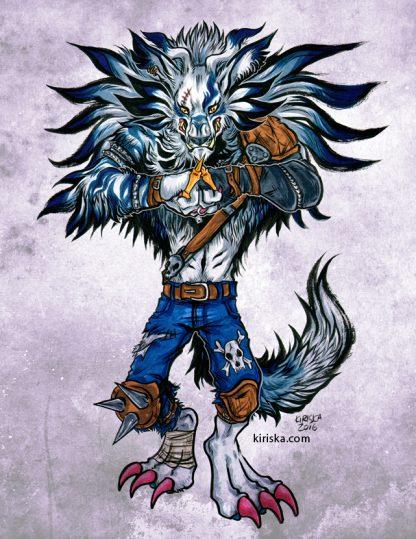 Original drawing of the Digimon WereGarurumon