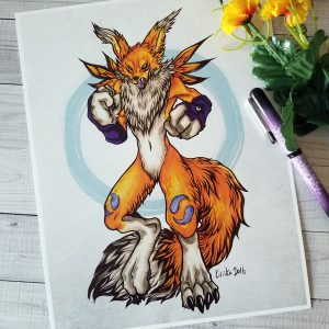 Art print featuring the Digimon, Renamon