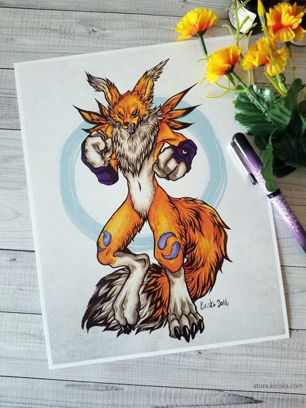 Art print featuring the Digimon, Renamon