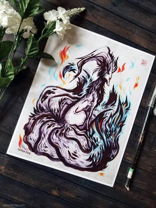Print of an original drawing of shiny Ninetales from Pokemon