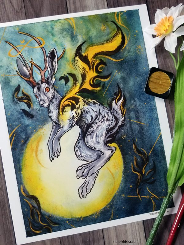 Print of a watercolor painting of a jackalope
