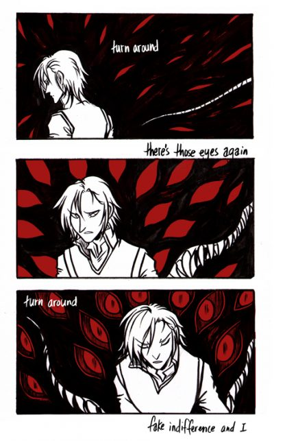 """Page from a short comic, """"Roses"""" by Kiriska."""