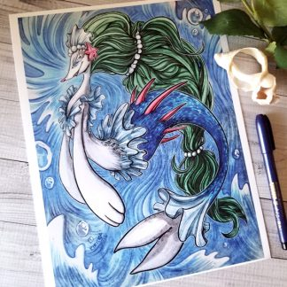 Unique art print featuring the Pokemon, Primarina