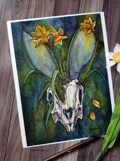 Ink and watercolor painting of a rabbit skull and daffodils