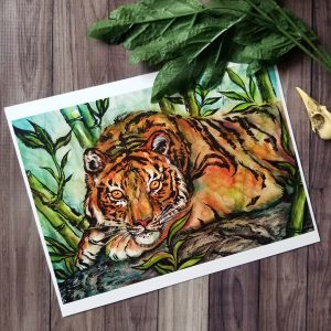 Print of a watercolor painting of a tiger