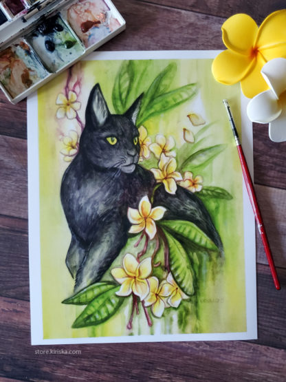 Original art print of a black cat and plumeria