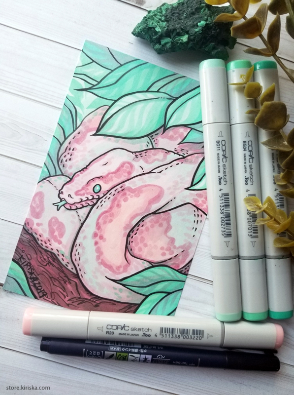 Drawing of a ball python colored with Copic Sketch markers