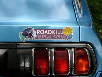 Mockup of Roadkill Burial Squad bumper sticker on car