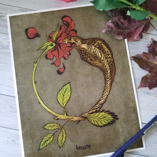 Art print featuring a cobra snake transforming into a rose