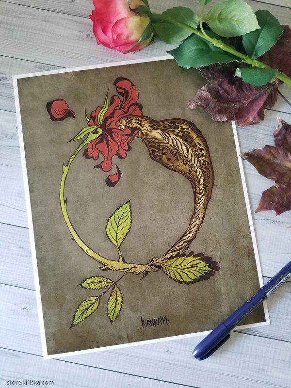 Art print featuring a cobra snake transforming into a rose