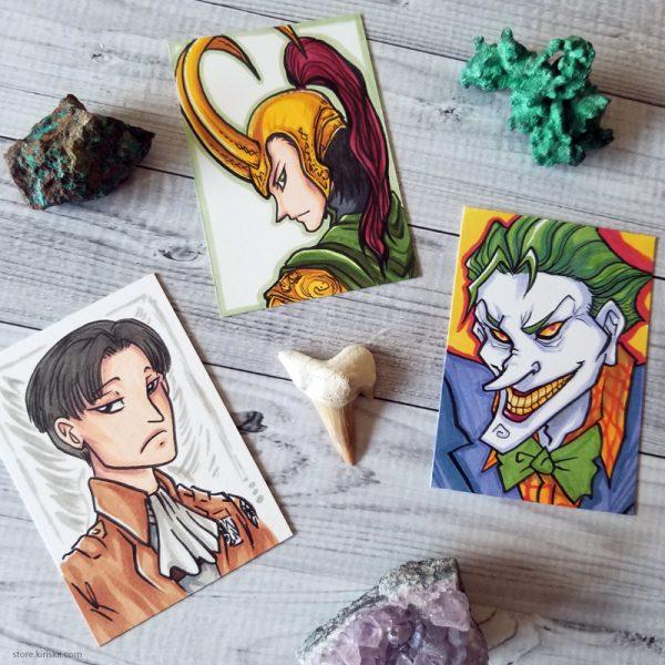 Levi, Loki, and Joker ACEOs
