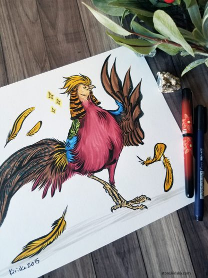 A golden pheasant and five golden feathers
