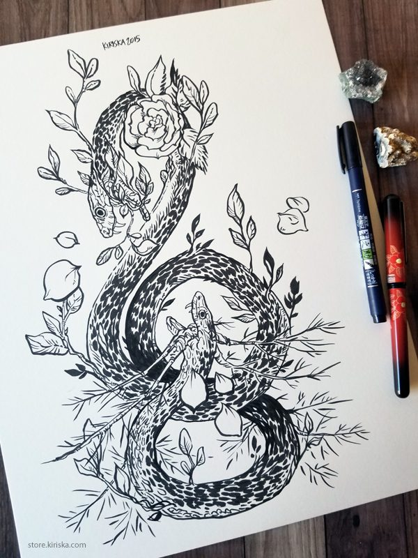 Original drawing of a two-headed snake and roses