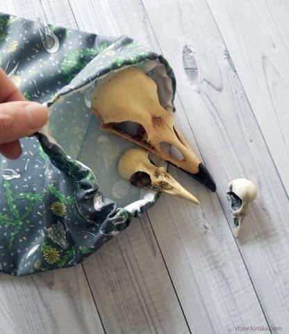 Crow bones and dandelion drawstring bag