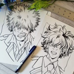 Original drawings of Bakugou and Midoriya (My Hero Academia)