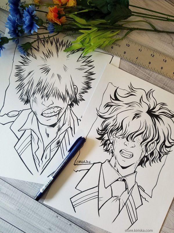 Original drawings of Bakugou and Midoriya (My Hero Academia)