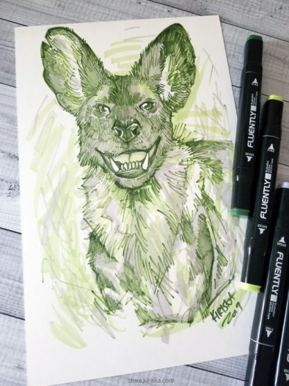African wild dog drawing in marker