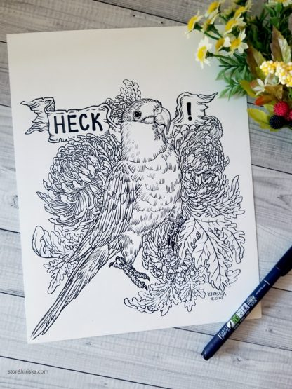 Original drawing of a caique parrot exclaiming