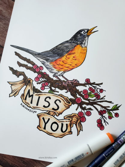 Original drawing of an American robin