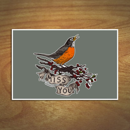 American robin print mockup