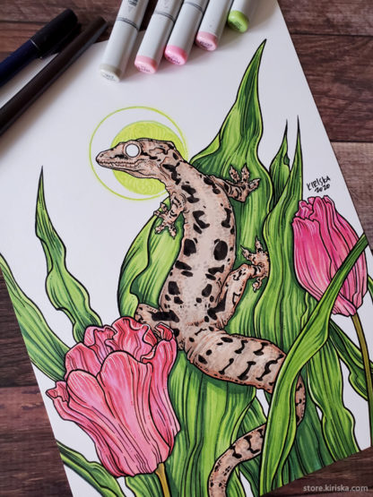 Mourning gecko art