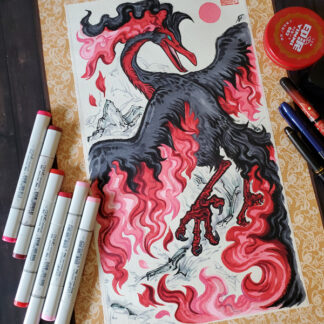 Galarian Moltres original scroll art