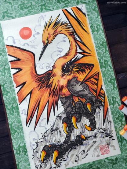 Galarian Zapdos original scroll art